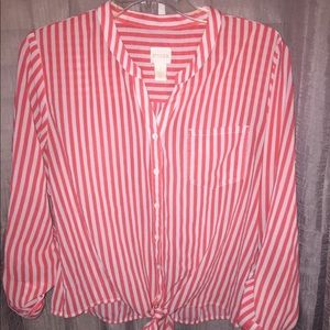 Chico's pinstripes dress shirt blouse